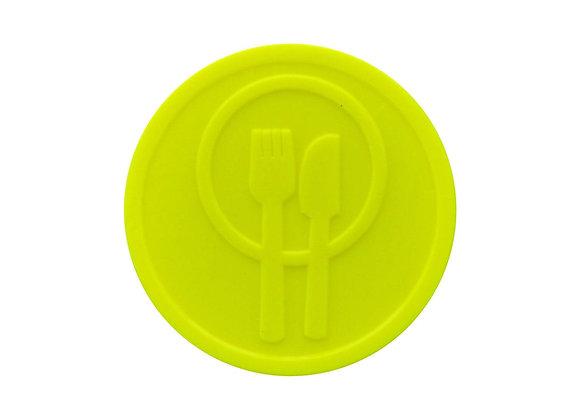 Stock Embossed 29mm Plastic Neon Yellow Meal Tokens -500