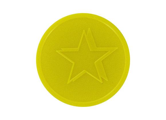 Stock Embossed 29mm Plastic Yellow Star Tokens - 500 Tokens