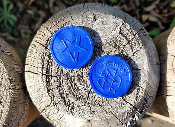 Small Blue Eco Star Tokens 29mm - Pack of 500