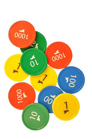 Place Value Counters Tokens, Personalised Custom Printed Plastic Tokens