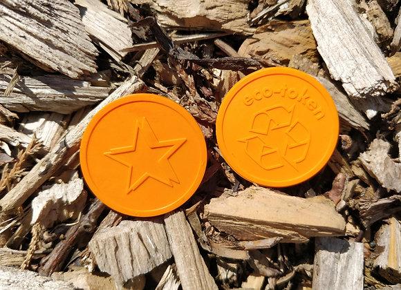 Biodegradable Eco Tokens Embossed 29mm Orange Star (500)