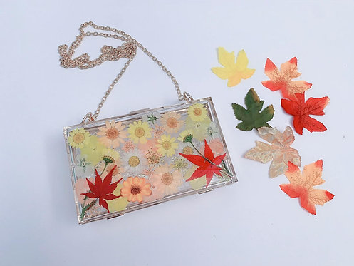 Clear Crossbody Clutch w/ dried pressed flowers / Acrylic Purse - resin art