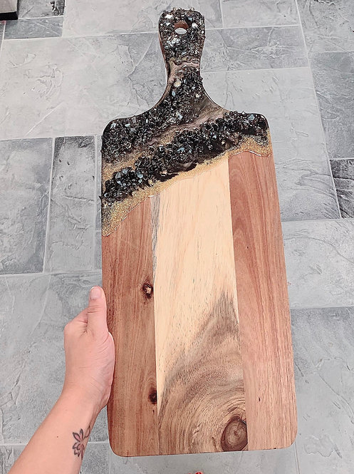Acacia Wood Paddle Shape Serving Board w Resin Art - Geode Crystals - Serving