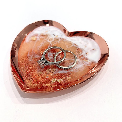 Heart Shaped Rose Gold Trinket Tray Ring Dish with Resin Ocean Waves | Resin Art