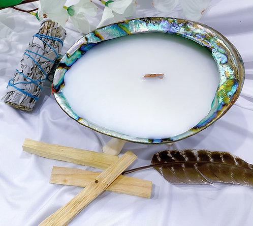 Abalone Shell Clearing Candle with Stand - 528 HZ