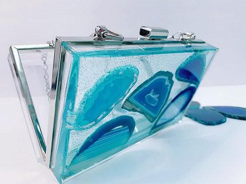 Clear Crossbody Clutch w/ blue Agate crystals- Acrylic Purse - resin art- clear