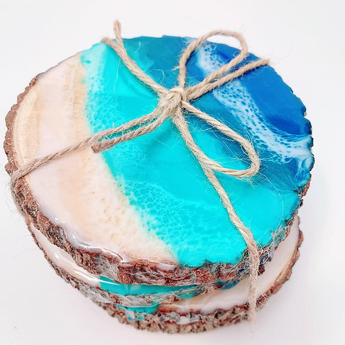 Beach Coaster - Rustic Coasters - Resin Art - Wood Coaster - Resin Coasters - Oc