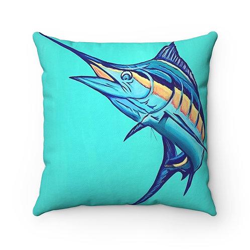 """Sail Fish"" - Spun Polyester Square Pillow"
