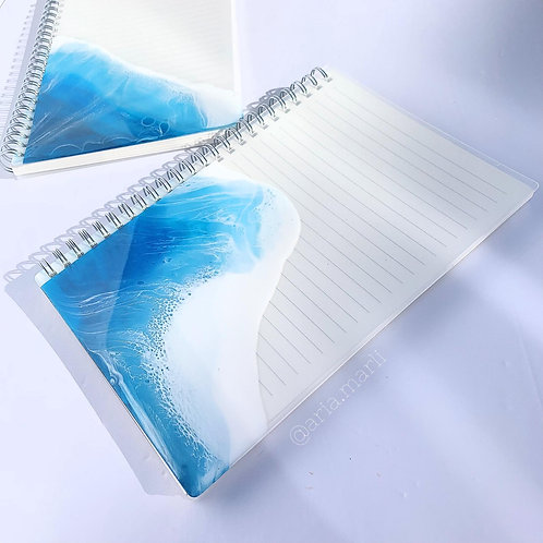 Resin Art Beach Hardcover A5 Ruled Wirebound/Spiral Notebook Journal Set