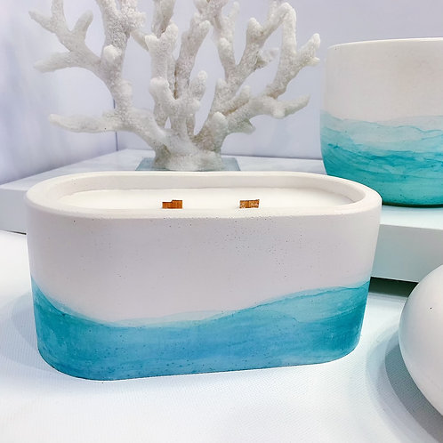 Hand painted Oval Concrete Vessel Candle