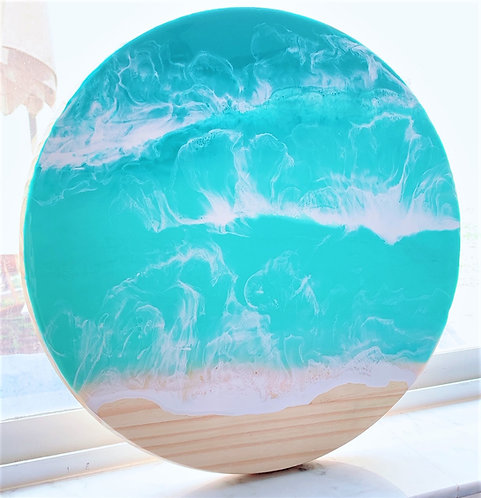 "Resin Beach Art on Round Pine Wood - 17.5"" - Resin Art - Coastal Art"