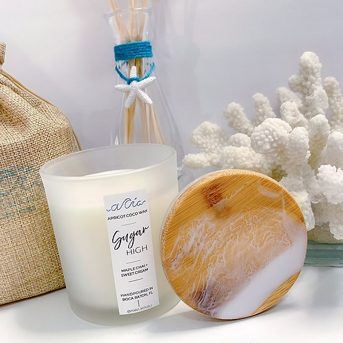 """""""Sugar High"""" White Frost Ocean Resin Lid Candle"""