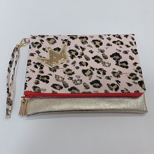 Pink Gold Cheetah Fold Over Clutch