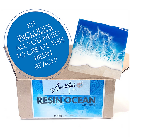 Resin Beach Scape Art Box + Video Tutorial- Kit Includes all you need!