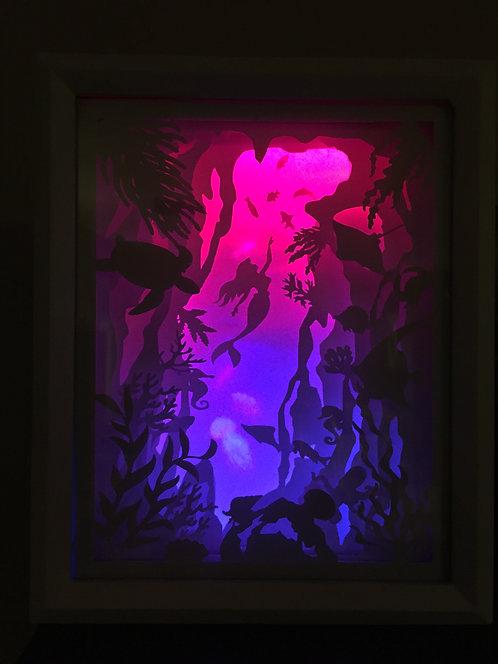 Mermaid Paper Light Shadow Box - Night Light