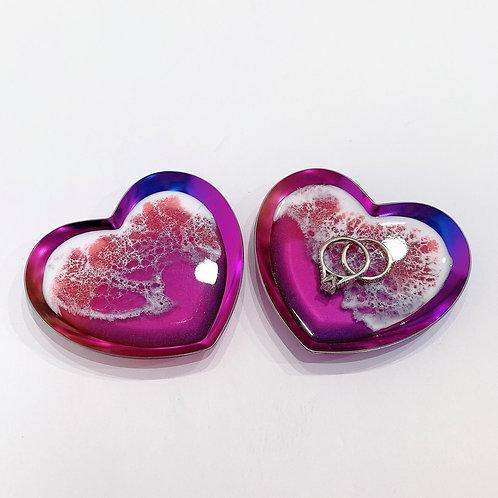 Heart Shaped Rainbow Trinket Tray Ring Dish with Resin Ocean Waves | Resin Art