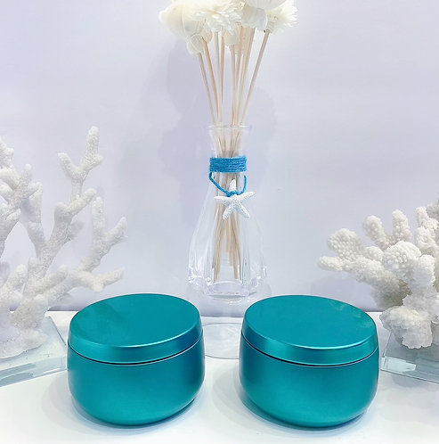 Teal Metal Tins -Travel containers - 8oz
