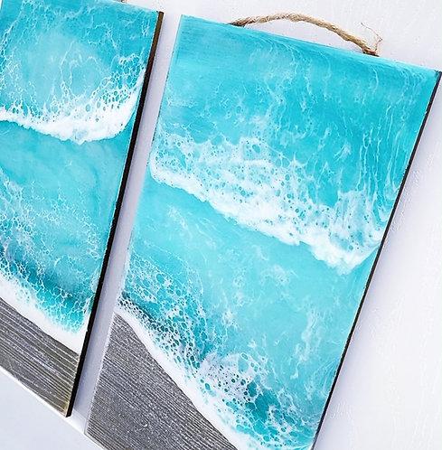 Resin beach wave wall hanging - Coastal Art - Resin Art - Resin Beach - Coastal