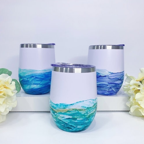 Hand painted Wine Tumbler with Lid Stemless Wine Glasses Travel Mugs 12oz