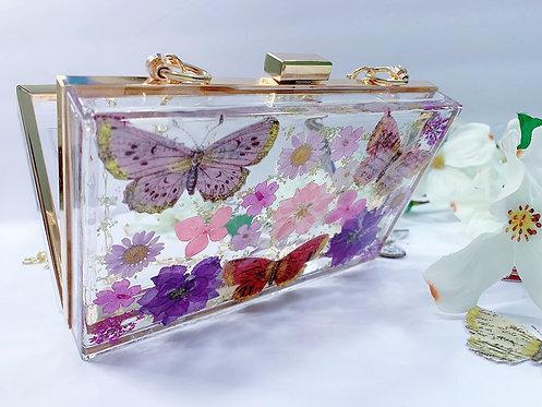 Clear Crossbody Clutch w/ dried pressed flowers / Acrylic Purse - resin art-
