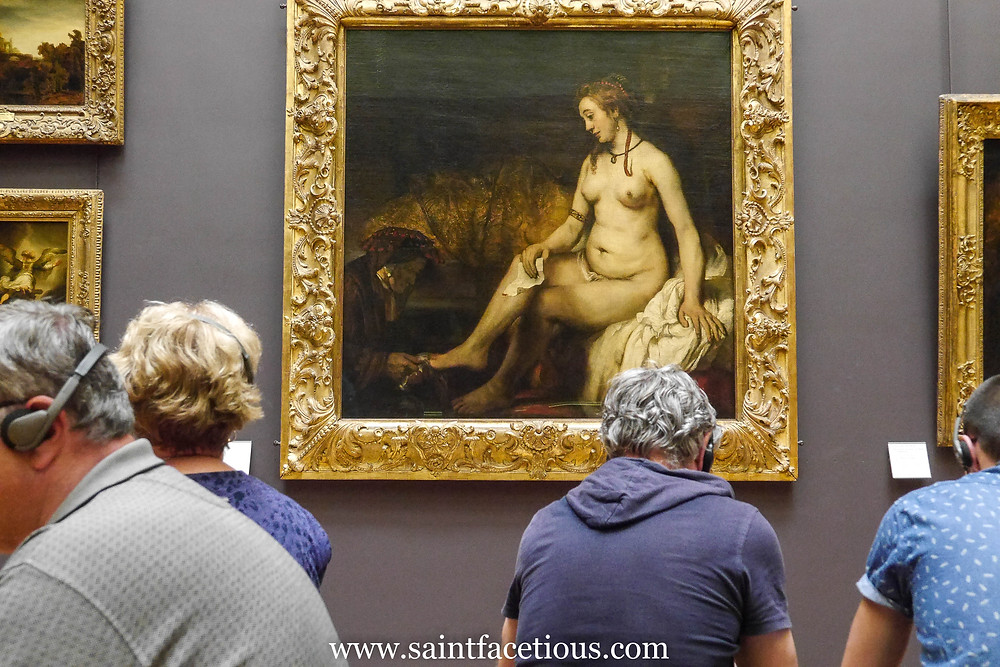 naked lady having a manicure, by Rembrandt. Everybody knows the Louvre and the Mona Lisa. But here are some tips for managing your tour for just a few hours and beating the lines. Read all about it on the blog, www.saintfacetious.com