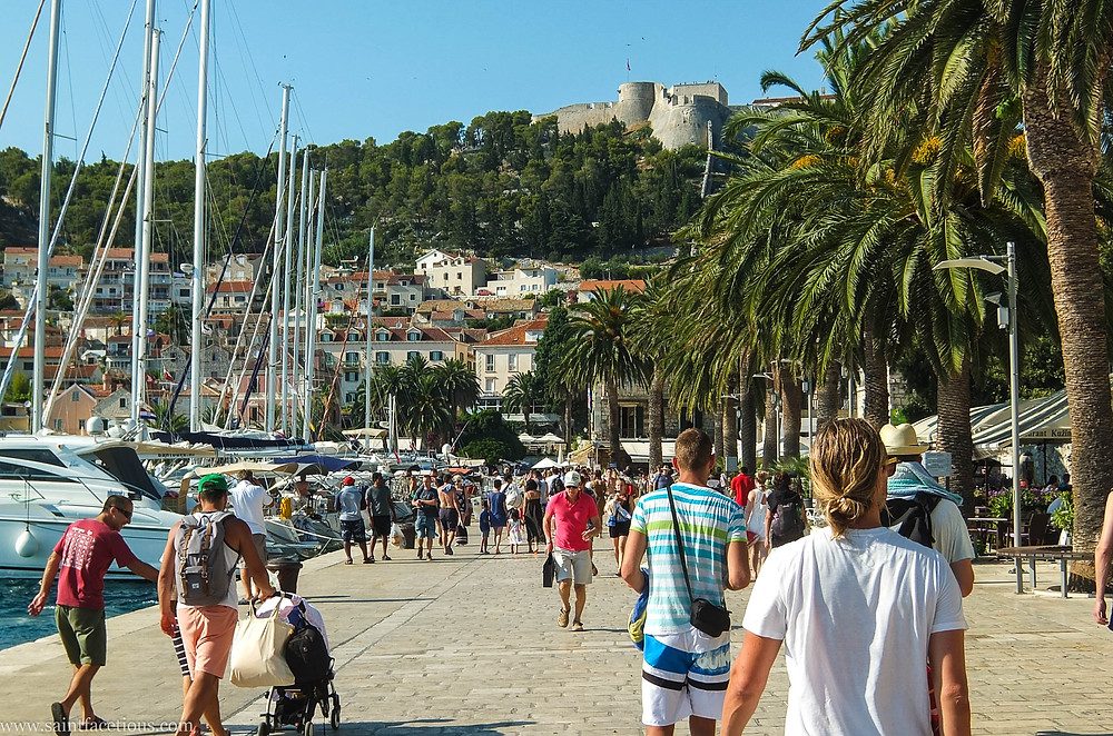 The harbor. The Dalmatian coast is the most beautiful in the world. Hvar is the place to go for the partying and with a majestic castle view. Read the blog for more.