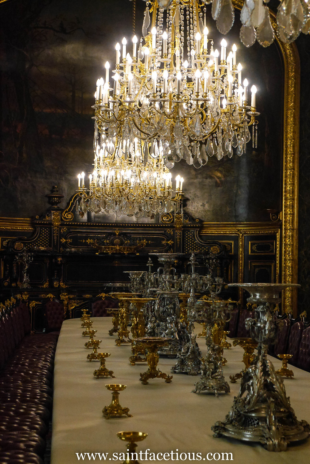 the Louvre dining room set. Everybody knows the Louvre and the Mona Lisa. But here are some tips for managing your tour for just a few hours and beating the lines. Read all about it on the blog, www.saintfacetious.com