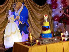 Beauty and the Beast themed Sweet 16 party at a VFW HAll for rent
