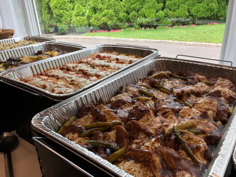 Catered hot buffet selections