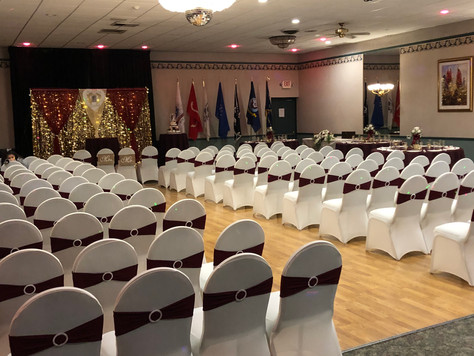Wedding Ceremony set-up at VFW Hall in Albertson