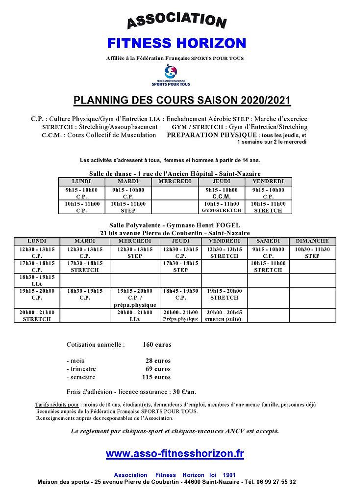 ASSO - PLANNING SAISON SPORTIVE 2020-202