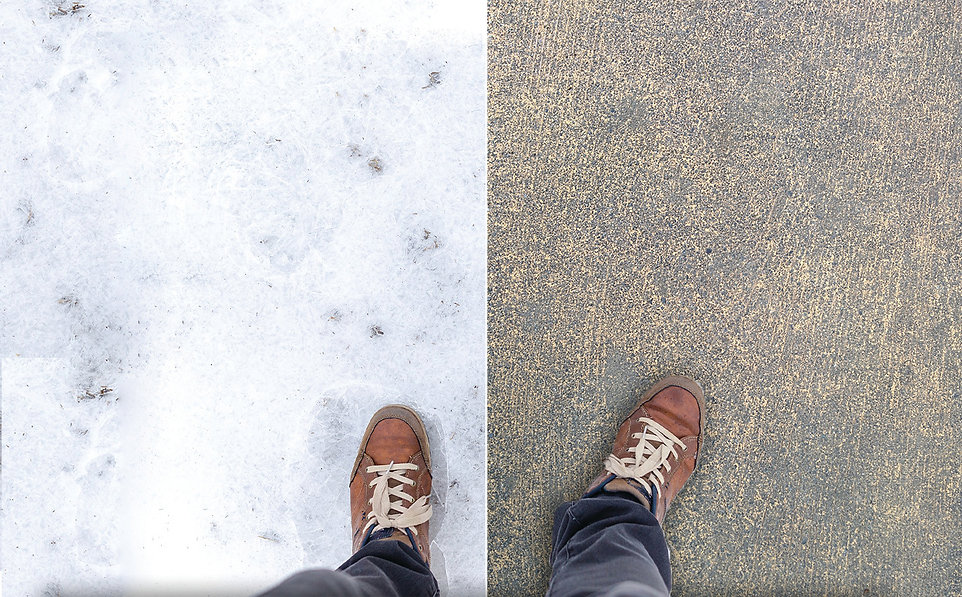 thaw ice snow cement concrete shoes down
