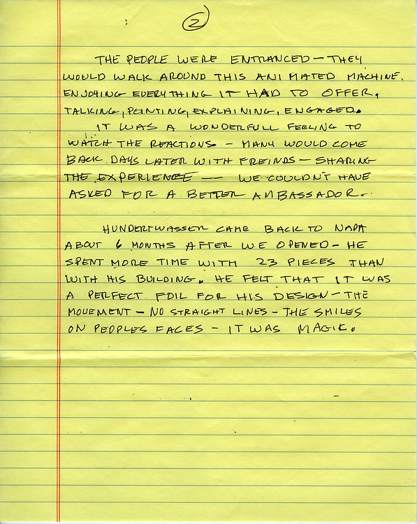 A personal letter from Carl Doumani about the history of Machine with 23 Scraps of Paper- page 2