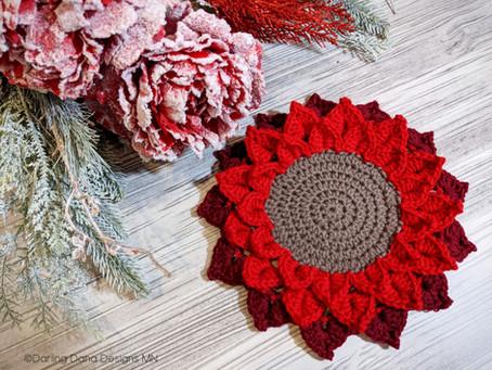 Christmas Poinsettia Candle Coaster