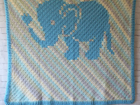 Little Love Elephant C2C Crochet Baby Blanket