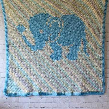 Little Love Elephant C2C Crochet Baby Blanket
