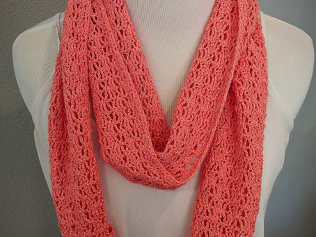 Light and Airy Coral Scarf