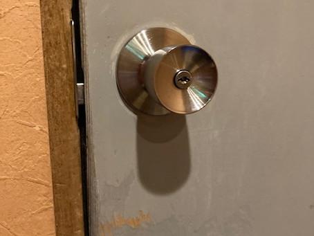 【旭川 鍵交換】事務所ドアノブをレバーハンドルに交換しました。