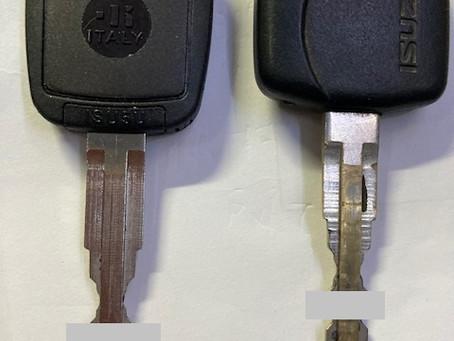 【帯広 車鍵】イスズダンプ合鍵(イモビライザー付き)を作成しました。