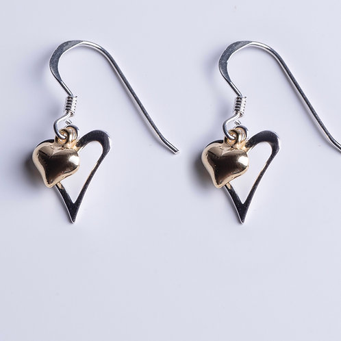 Yellow Gold & Silver Hearts