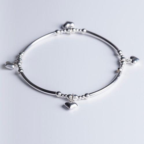 Silver Hearts Bracelet