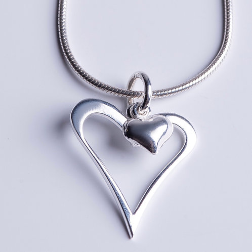 Silver Heart within a Heart