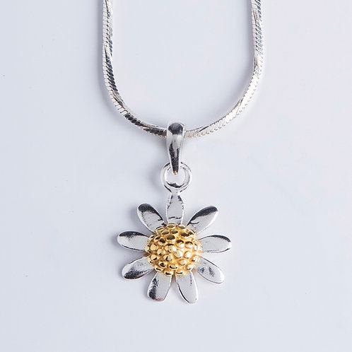 Gold & Silver Sunflower Necklace