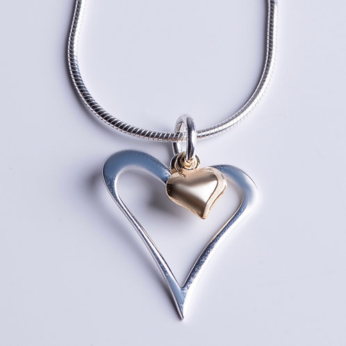 Yellow Gold & Silver Heart