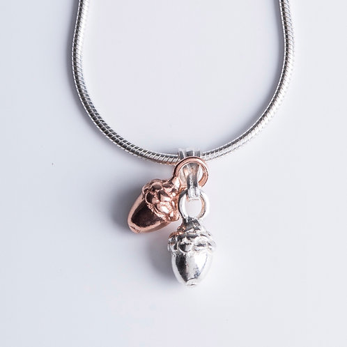 Rose Gold & Silver Acorns Necklace