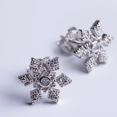 Sparkly Snowflake Studs