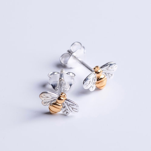 Silver & Gold Bee Studs