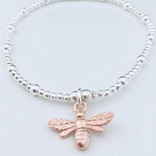 Rose Gold & Silver Bee Bracelet