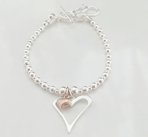 Rose Gold or Yellow Gold Heart within a Heart Bracelet