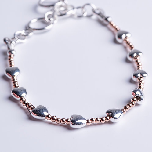 Rose Gold and Silver Hearts Bracelet